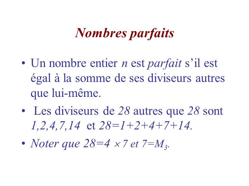 Nombres parfaits Un nombre entier n est parfait s'il est égal à la somme de ses diviseurs autres que lui-même.