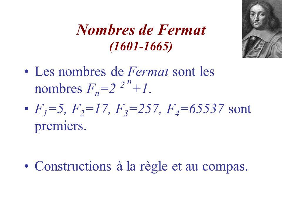 Nombres de Fermat (1601-1665) Les nombres de Fermat sont les nombres Fn=2 2 n+1. F1=5, F2=17, F3=257, F4=65537 sont premiers.