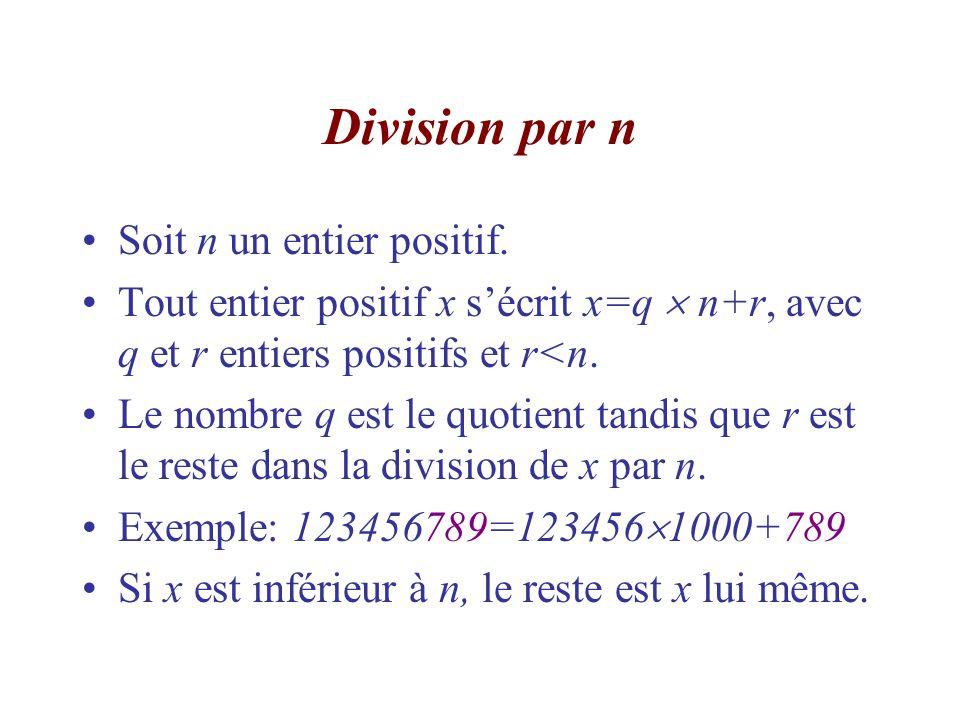 Division par n Soit n un entier positif.