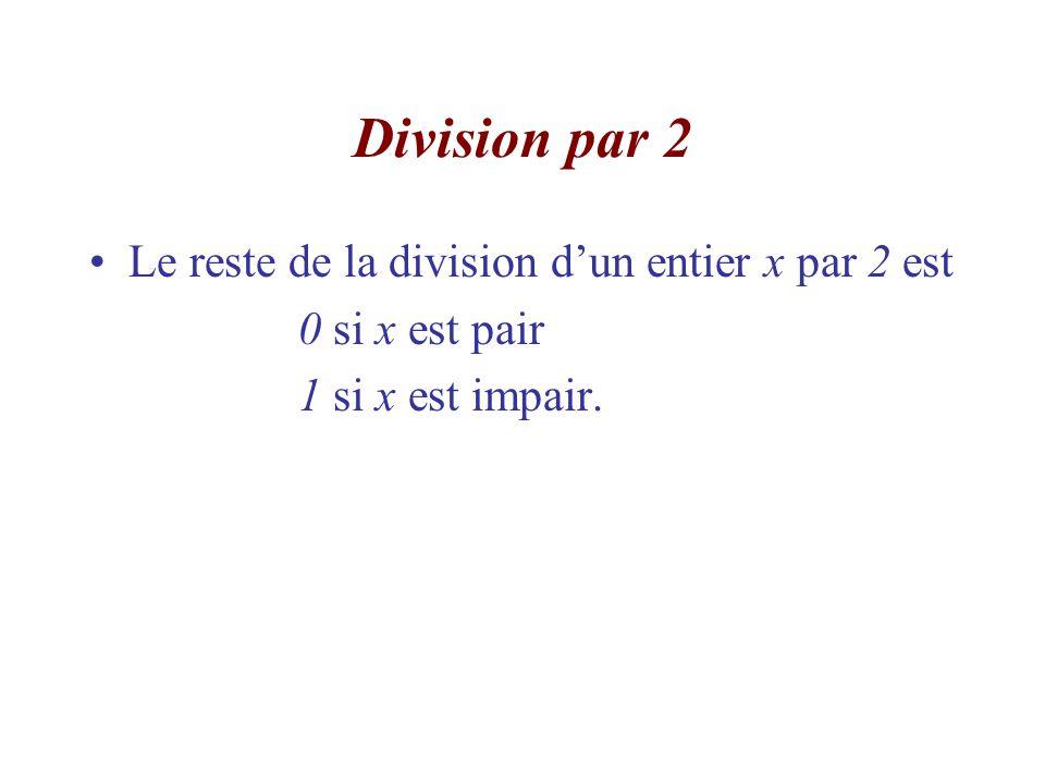 Division par 2 Le reste de la division d'un entier x par 2 est