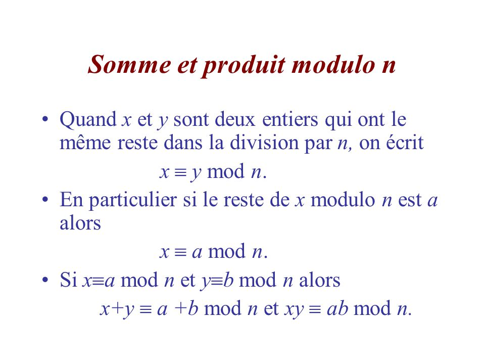 Somme et produit modulo n