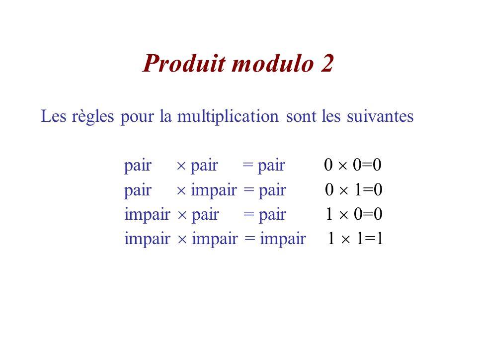 Produit modulo 2 Les règles pour la multiplication sont les suivantes
