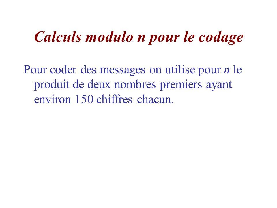 Calculs modulo n pour le codage