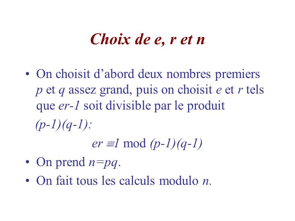 Choix de e, r et n On choisit d'abord deux nombres premiers p et q assez grand, puis on choisit e et r tels que er-1 soit divisible par le produit.