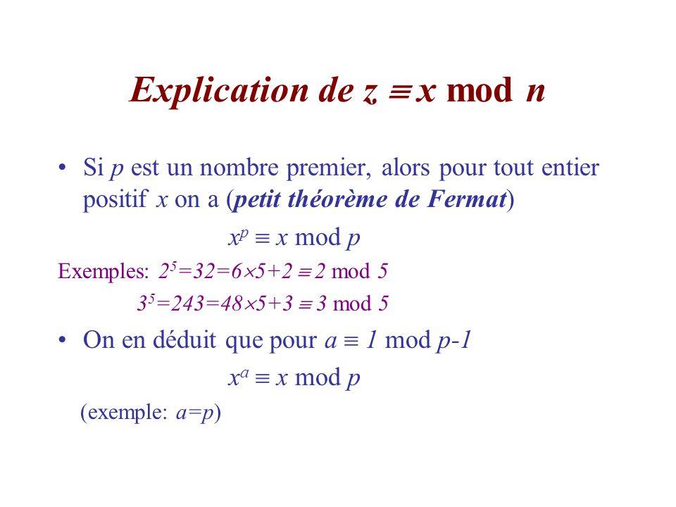 Explication de z  x mod n