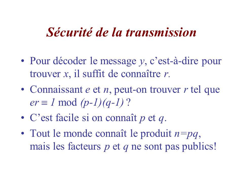 Sécurité de la transmission