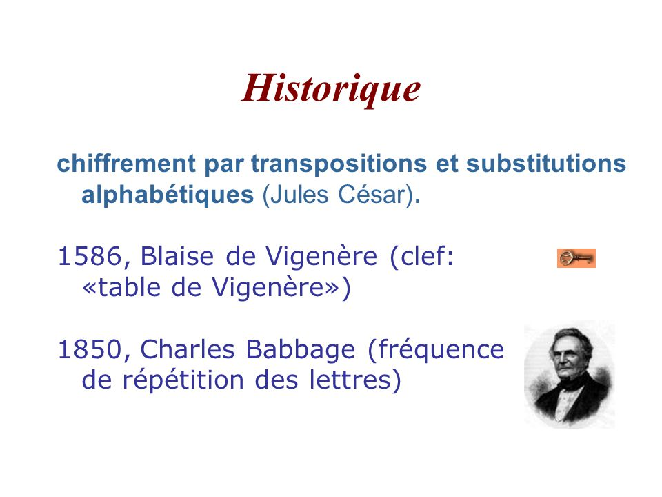 Historique chiffrement par transpositions et substitutions alphabétiques (Jules César).