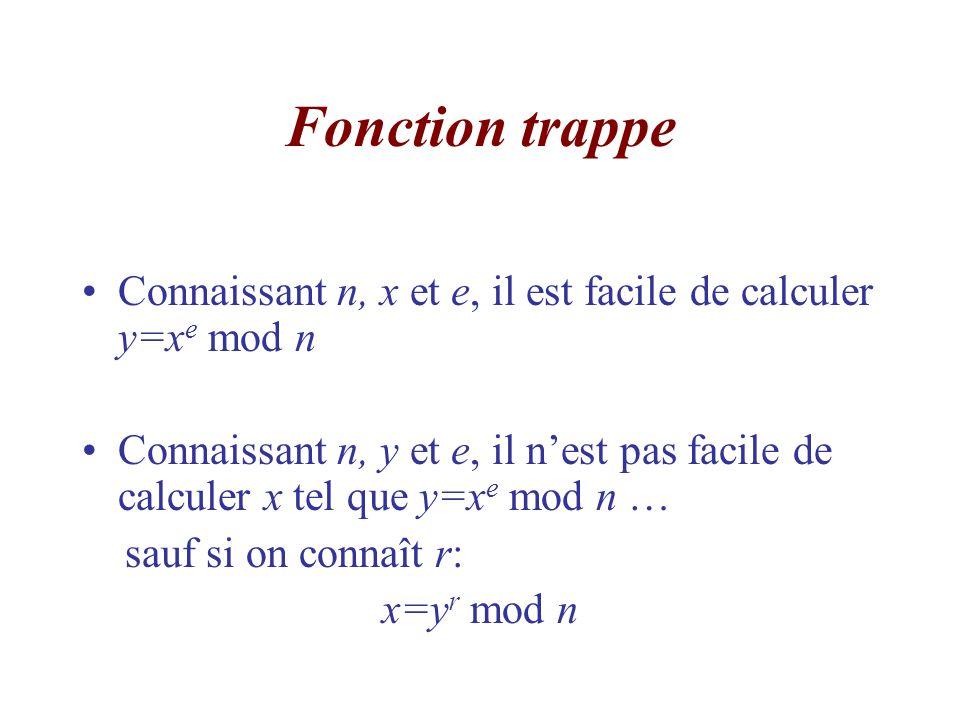 Fonction trappe Connaissant n, x et e, il est facile de calculer y=xe mod n.