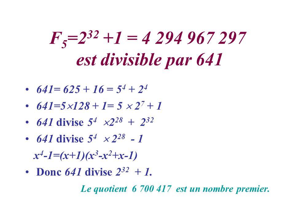 F5=232 +1 = 4 294 967 297 est divisible par 641 641= 625 + 16 = 54 + 24. 641=5128 + 1= 5  27 + 1.