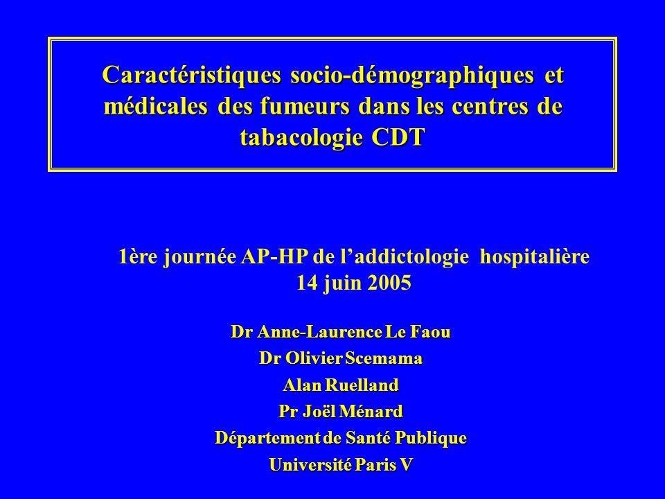 Caractéristiques socio-démographiques et médicales des fumeurs dans les centres de tabacologie CDT