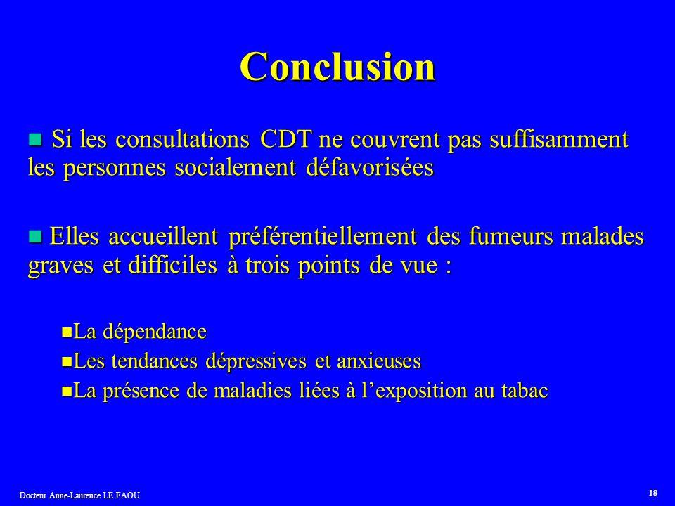 Conclusion Si les consultations CDT ne couvrent pas suffisamment les personnes socialement défavorisées.