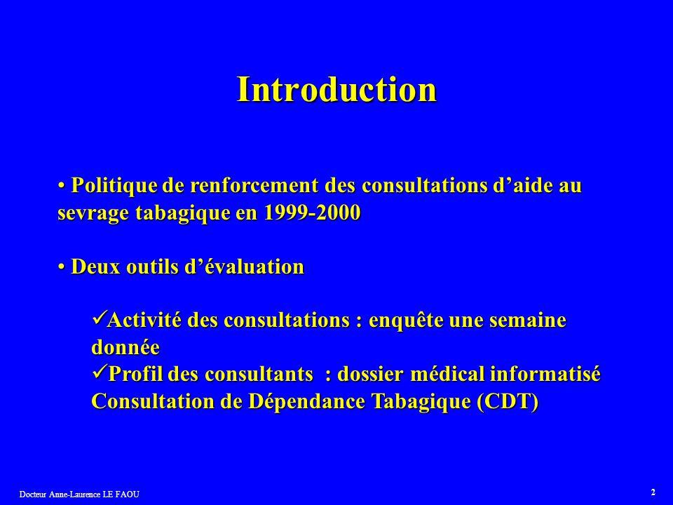 Introduction Politique de renforcement des consultations d'aide au sevrage tabagique en 1999-2000. Deux outils d'évaluation.