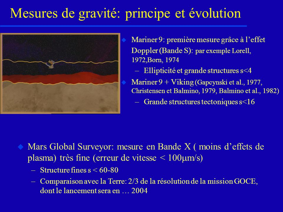 Mesures de gravité: principe et évolution