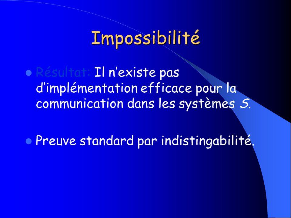 Impossibilité Résultat: Il n'existe pas d'implémentation efficace pour la communication dans les systèmes S.
