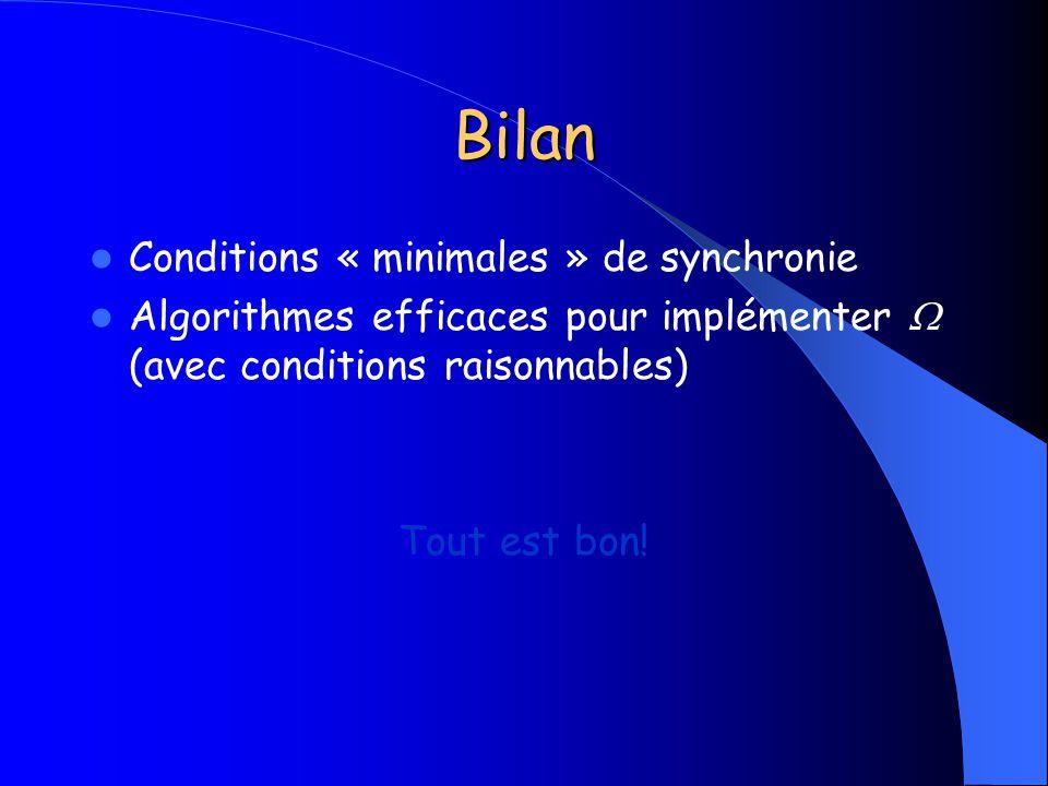 Bilan Conditions « minimales » de synchronie