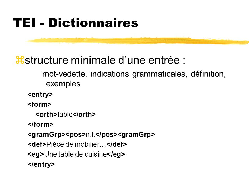 TEI - Dictionnaires structure minimale d'une entrée :