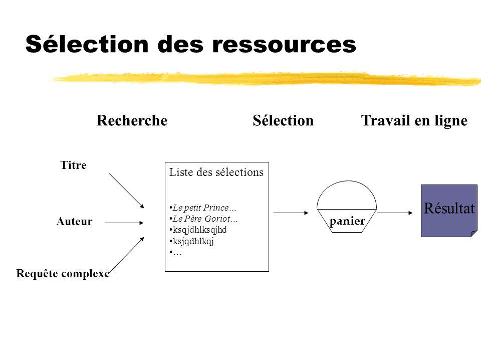 Sélection des ressources