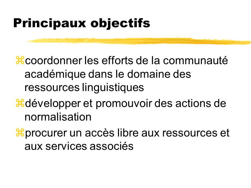 Principaux objectifs coordonner les efforts de la communauté académique dans le domaine des ressources linguistiques.