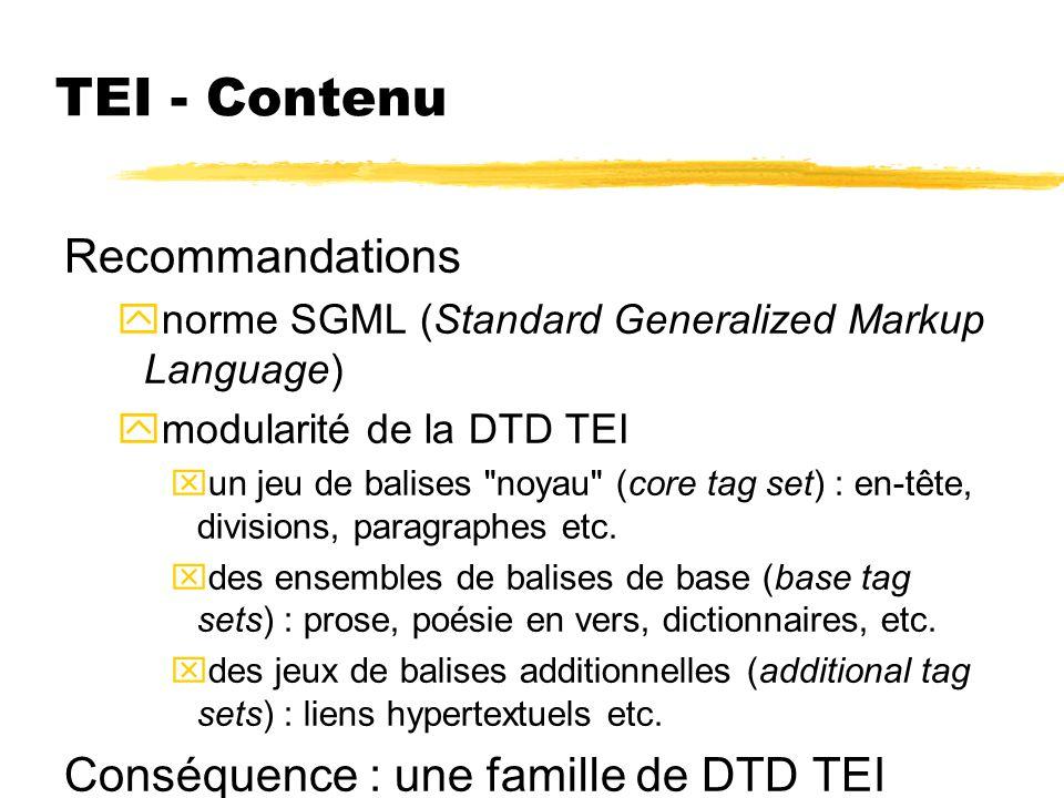 TEI - Contenu Recommandations Conséquence : une famille de DTD TEI