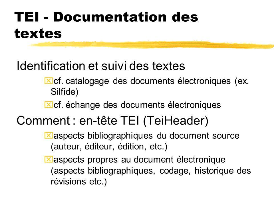TEI - Documentation des textes