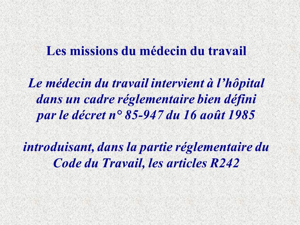 Les missions du médecin du travail Le médecin du travail intervient à l'hôpital dans un cadre réglementaire bien défini par le décret n° 85-947 du 16 août 1985 introduisant, dans la partie réglementaire du Code du Travail, les articles R242