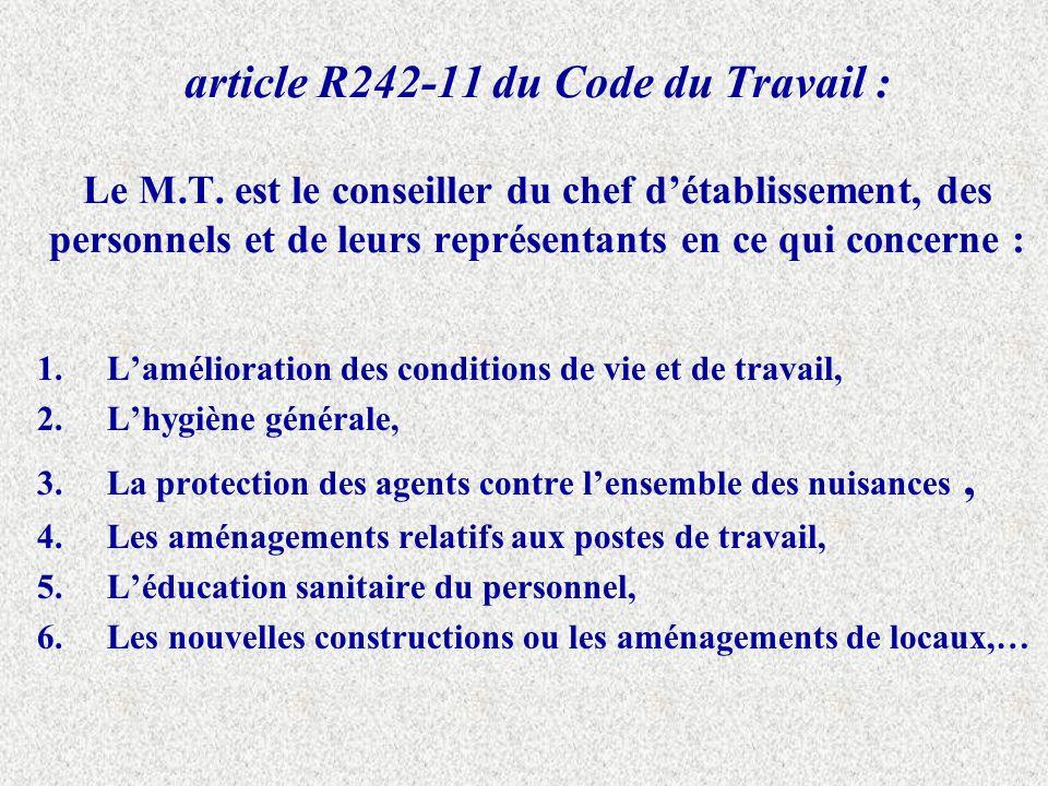 article R242-11 du Code du Travail : Le M. T