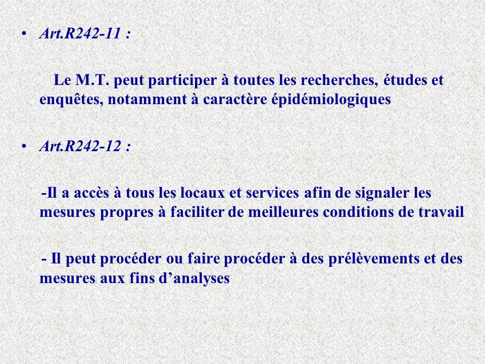 Art.R242-11 : Le M.T. peut participer à toutes les recherches, études et enquêtes, notamment à caractère épidémiologiques.