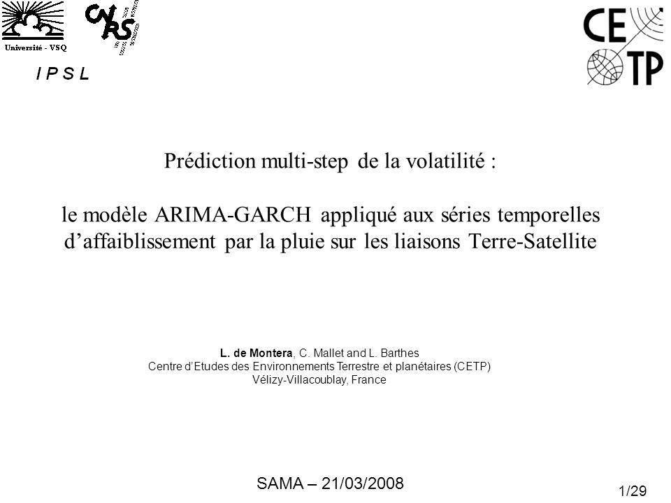 Prédiction multi-step de la volatilité : le modèle ARIMA-GARCH appliqué aux séries temporelles d'affaiblissement par la pluie sur les liaisons Terre-Satellite