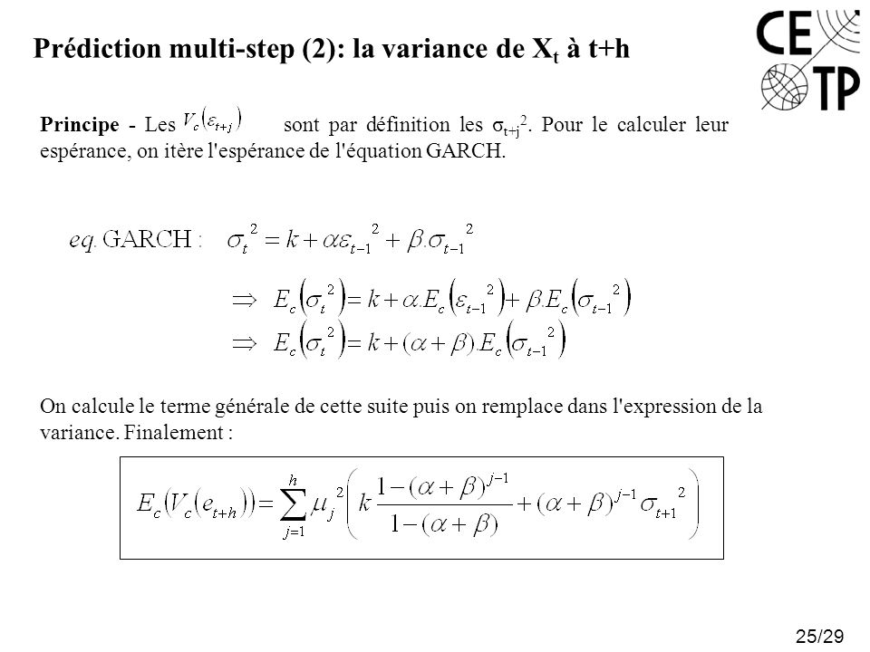 Prédiction multi-step (2): la variance de Xt à t+h