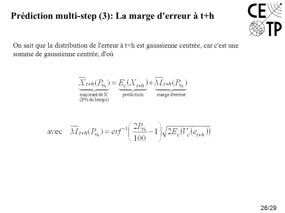 Prédiction multi-step (3): La marge d erreur à t+h