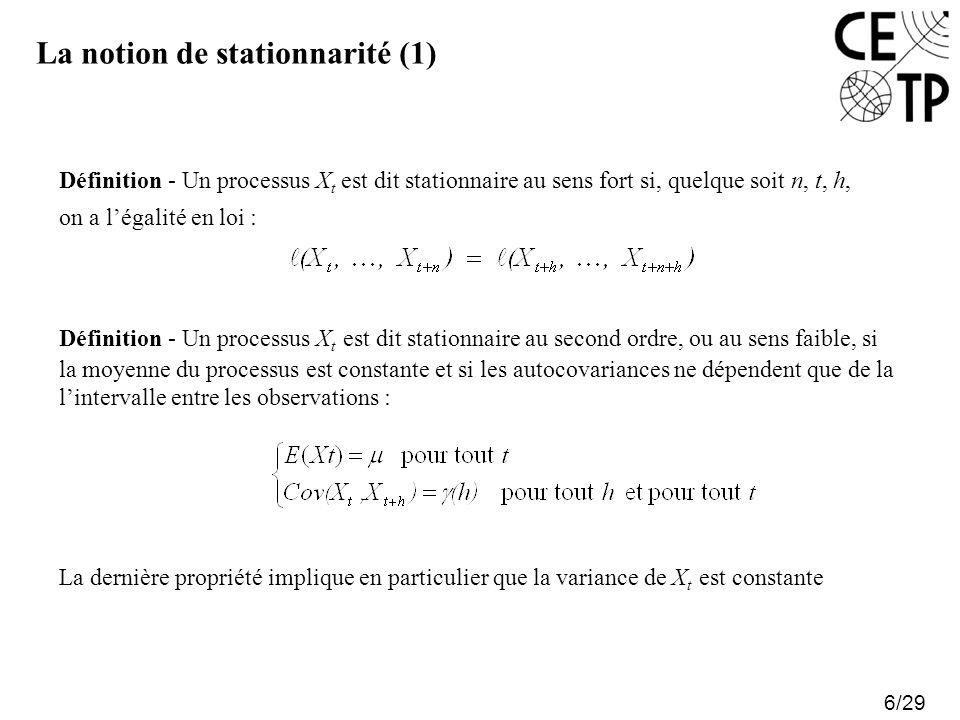 La notion de stationnarité (1)