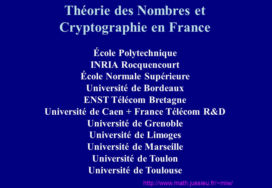 Théorie des Nombres et Cryptographie en France