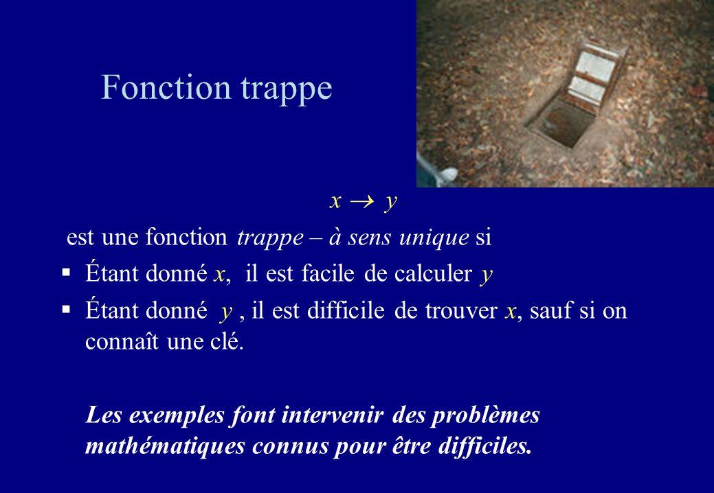 Fonction trappe x  y est une fonction trappe – à sens unique si