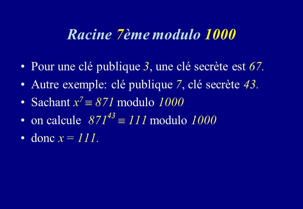 Racine 7ème modulo 1000 Pour une clé publique 3, une clé secrète est 67. Autre exemple: clé publique 7, clé secrète 43.