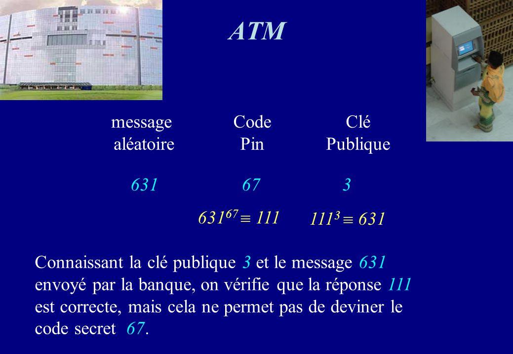 ATM message aléatoire 631 Code Pin 67 Clé Publique 3 63167  111