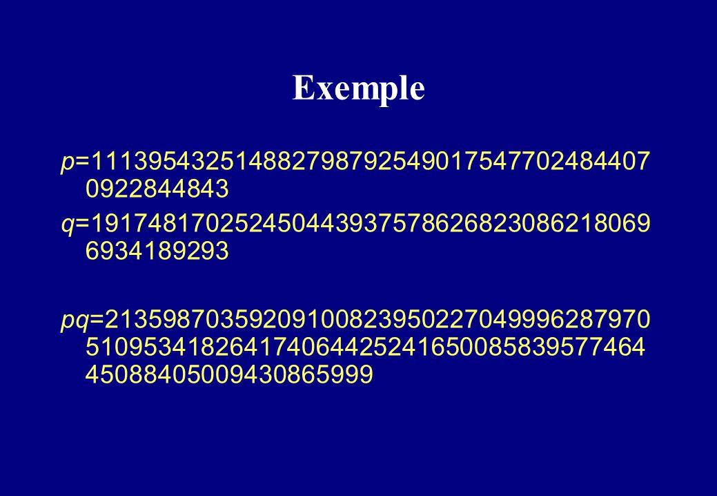 Exemple p=1113954325148827987925490175477024844070922844843. q=1917481702524504439375786268230862180696934189293.