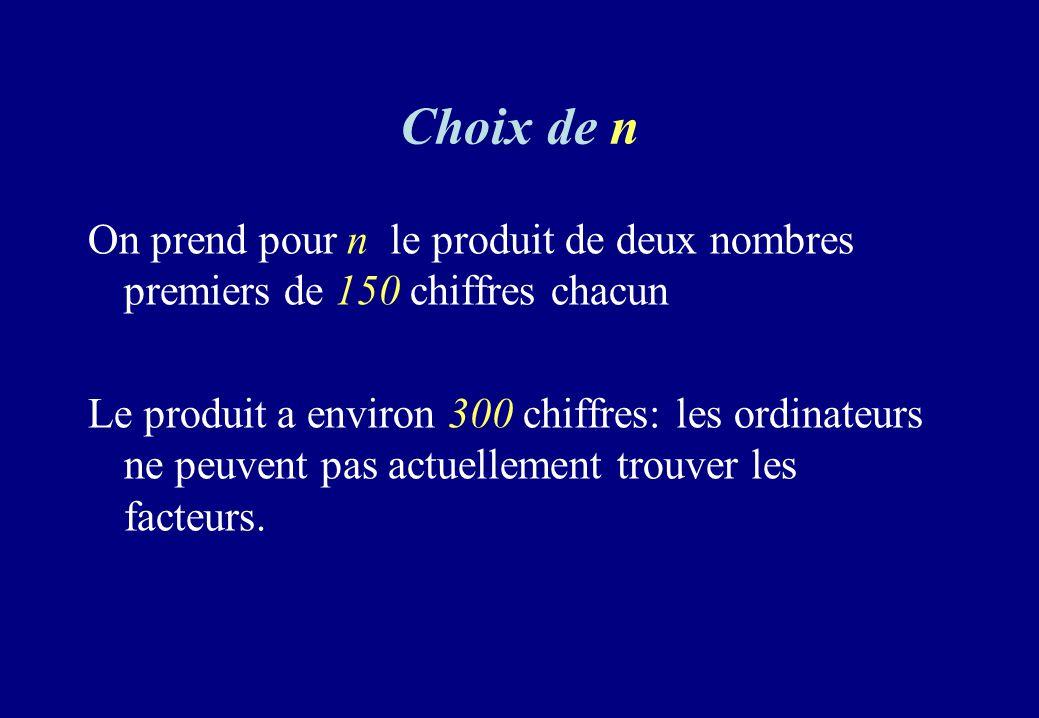 Choix de n On prend pour n le produit de deux nombres premiers de 150 chiffres chacun.