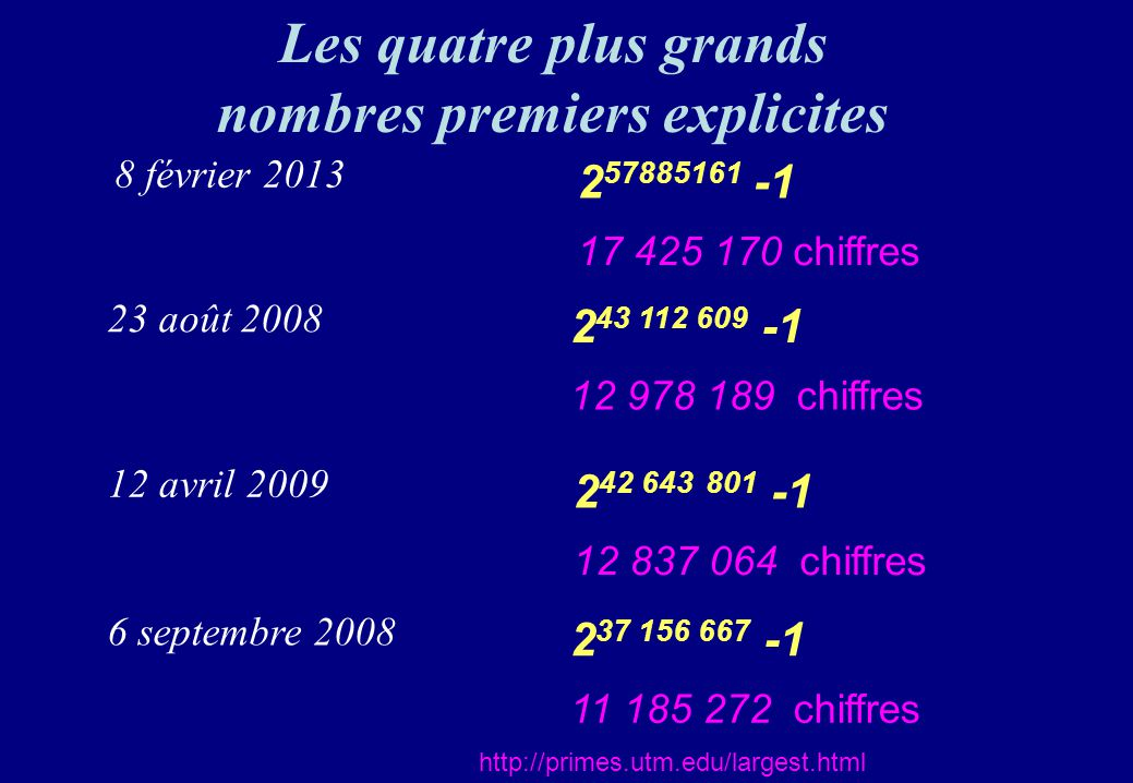 nombres premiers explicites