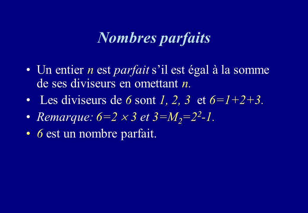 Nombres parfaits Un entier n est parfait s'il est égal à la somme de ses diviseurs en omettant n. Les diviseurs de 6 sont 1, 2, 3 et 6=1+2+3.