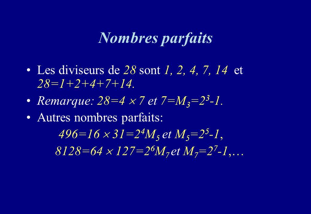 Nombres parfaits Les diviseurs de 28 sont 1, 2, 4, 7, 14 et 28=1+2+4+7+14. Remarque: 28=4  7 et 7=M3=23-1.
