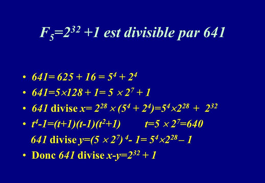 F5=232 +1 est divisible par 641 641= 625 + 16 = 54 + 24