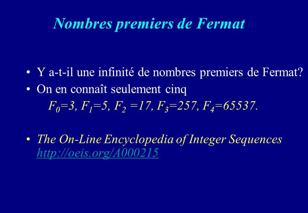 Nombres premiers de Fermat
