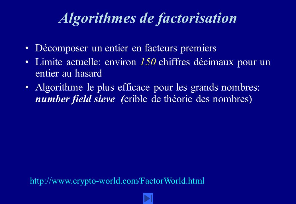 Algorithmes de factorisation