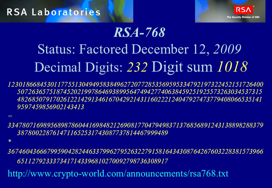 RSA-768 Status: Factored December 12, 2009 Decimal Digits: 232 Digit sum 1018