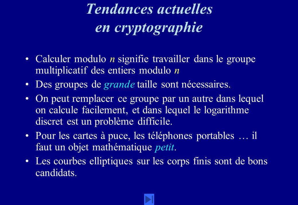 Tendances actuelles en cryptographie