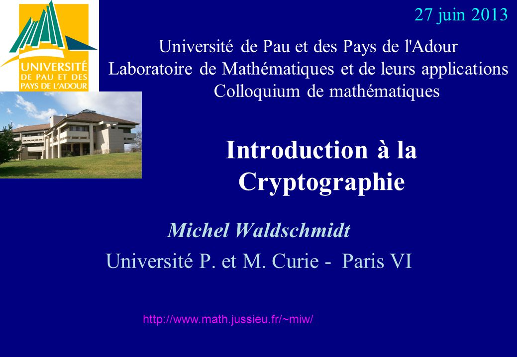 Introduction à la Cryptographie