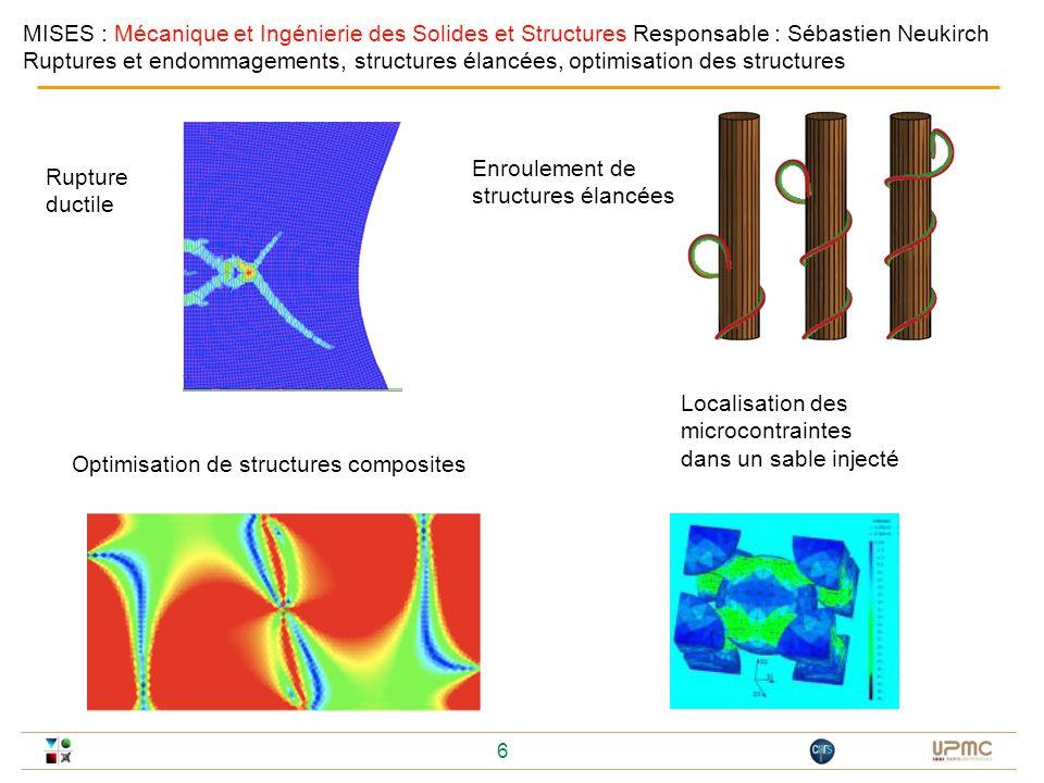 MISES : Mécanique et Ingénierie des Solides et Structures Responsable : Sébastien Neukirch