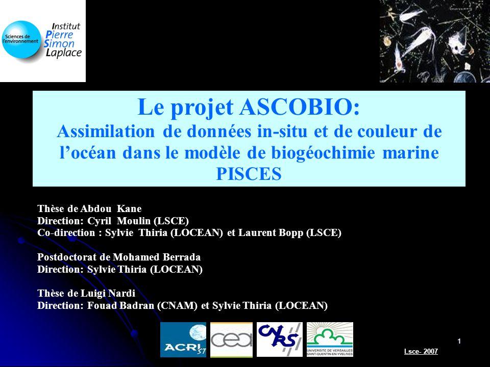 Le projet ASCOBIO: Assimilation de données in-situ et de couleur de l'océan dans le modèle de biogéochimie marine PISCES.
