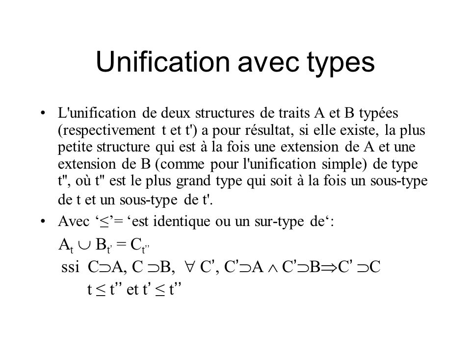 Unification avec types