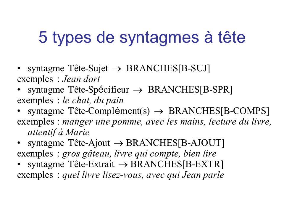 5 types de syntagmes à tête